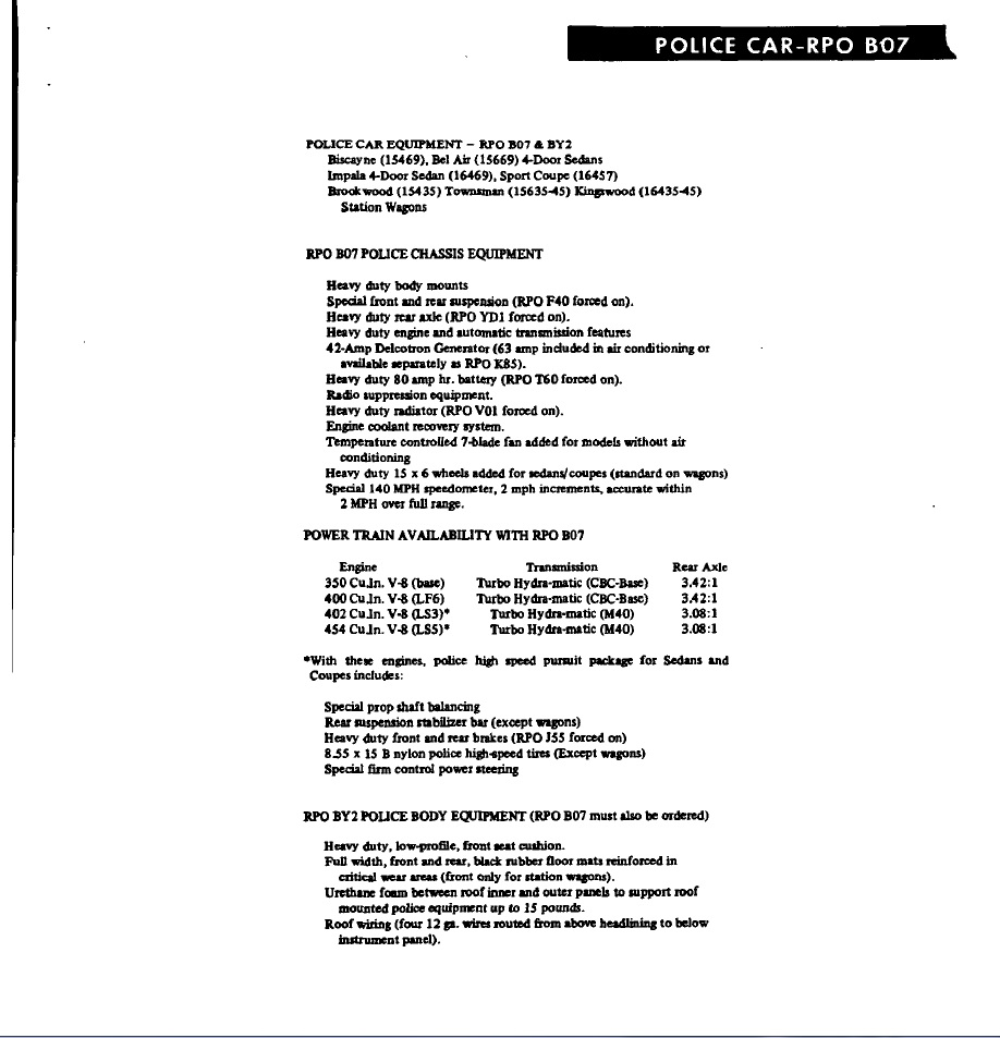 292 chevy engine kit home gt engine kits gt chevy 292 1963 1989 gt chevy - I Attached A Copy Of The Original Chevrolet Literature That Showed The Equipment For The B07 Option Group In Case Your Are Interested