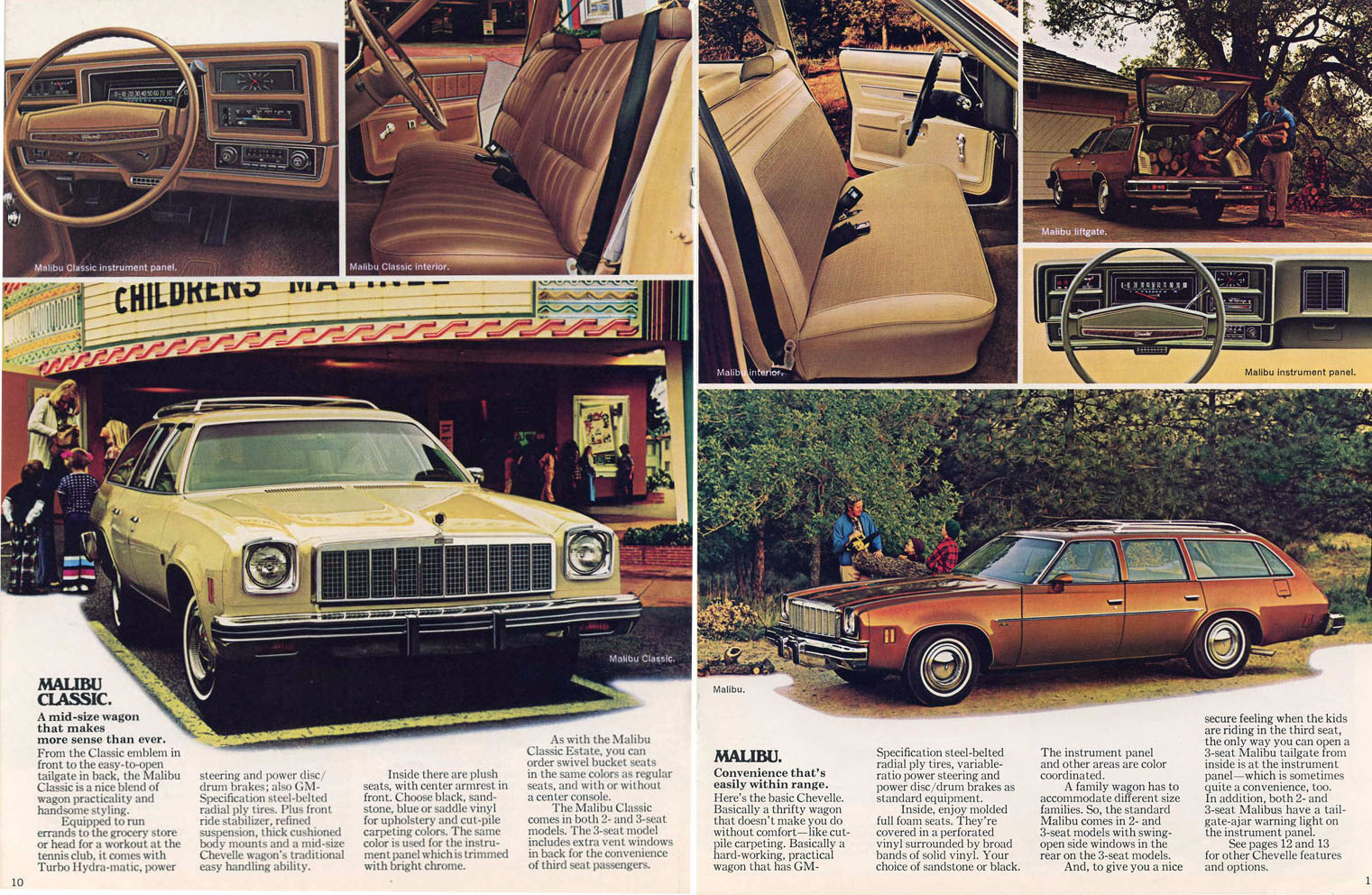Here's some specific evidence, from a 1975 Chevy wagons brochure. If you  bought a 3-seat Malibu wagon (any trim level), it came with the rear vent  windows.