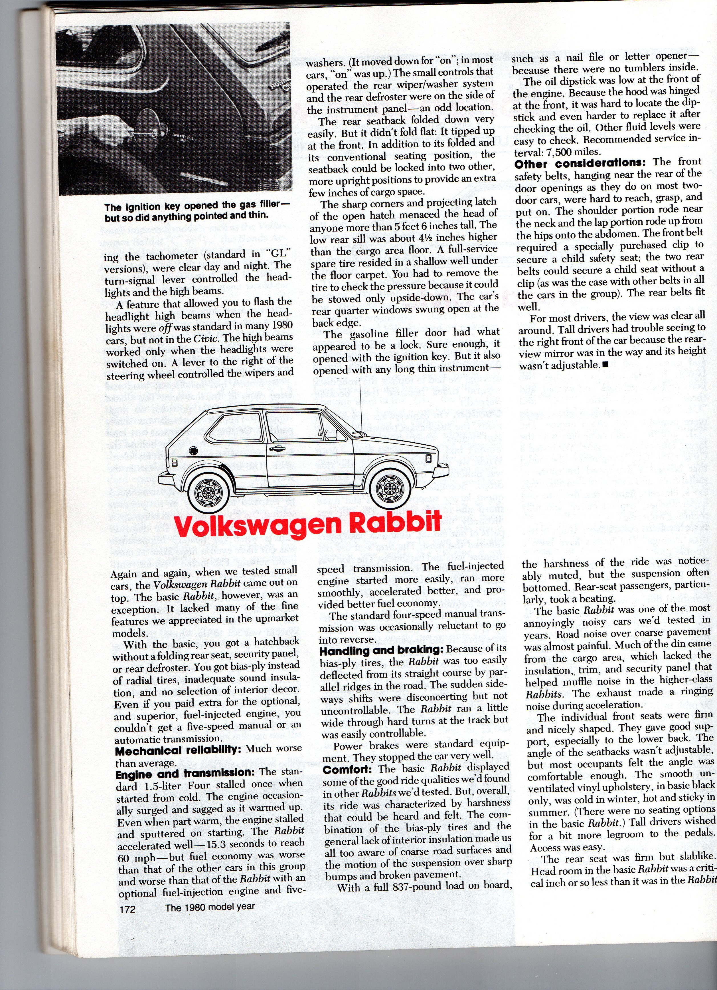 Coal 1978 Vw Rabbit Mine Was A Good One Gti Engines Further Fuel Pump Wiring Diagram On 1975 Beetle Heres Crs Test Report The Base Carbed From July 1980