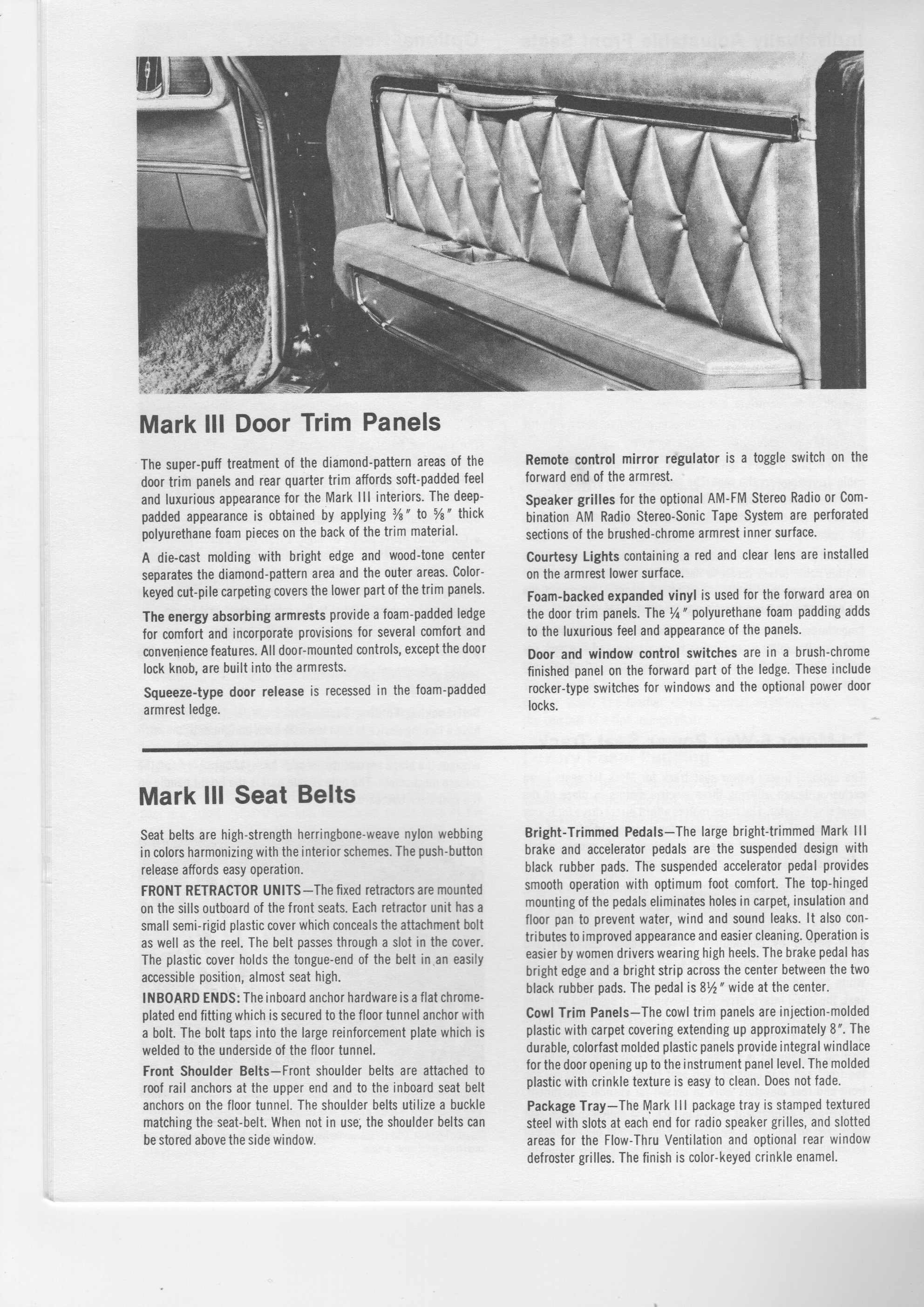 Coal 1970 Lincoln Continental Mark Iii The Plot Twist 1955 Ford Thunderbird Fuse Box Location Page From A Copy Of 1969 Illustrated Facts Figures Manual I Managed To Pick Up At Car Swap Meet Few Years Back