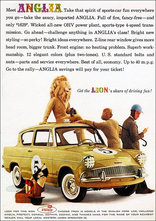 af78ac7b54 Ford used to have a guy in a lion suit in their USA Anglia advertisements.  Here s a 1960 ad.