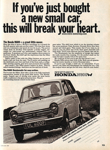 Honda N600 ad UK