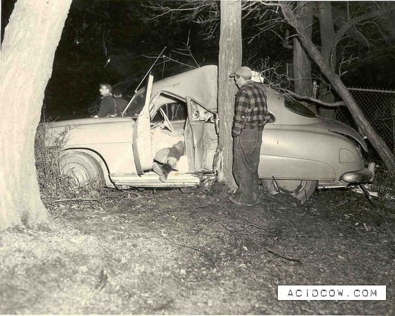 Car Crash 1950s on old wrecked 1955 chevy drag car