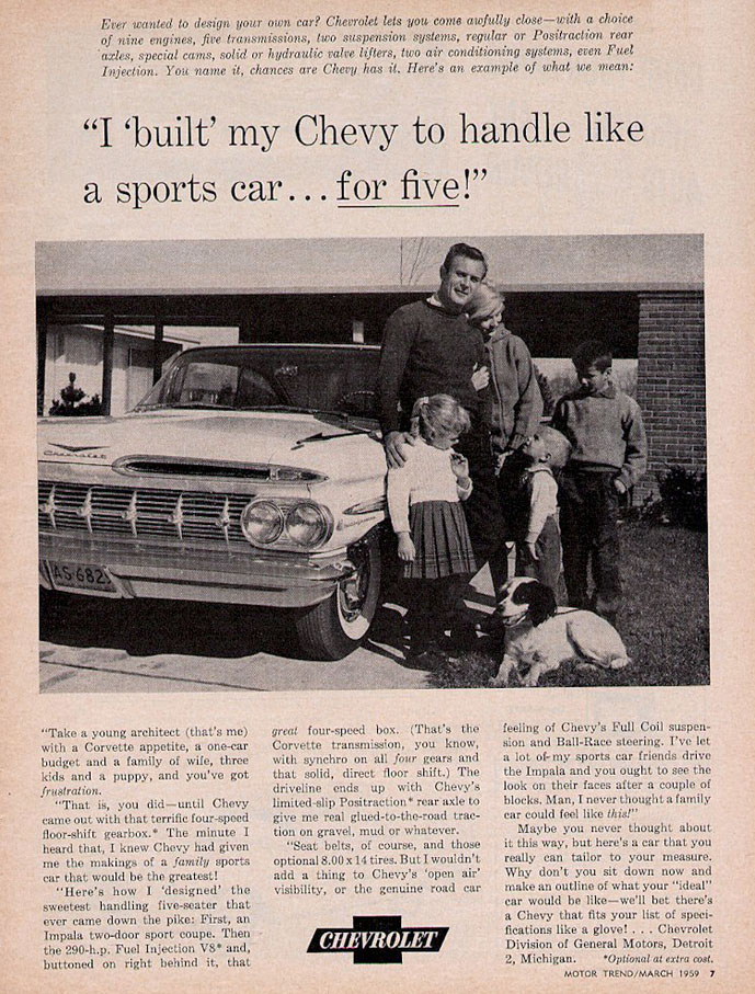 Chevrolet 1959 ad sports car