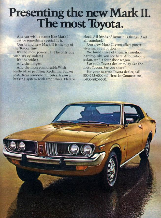 1973 Toyota Corona Mark II ad