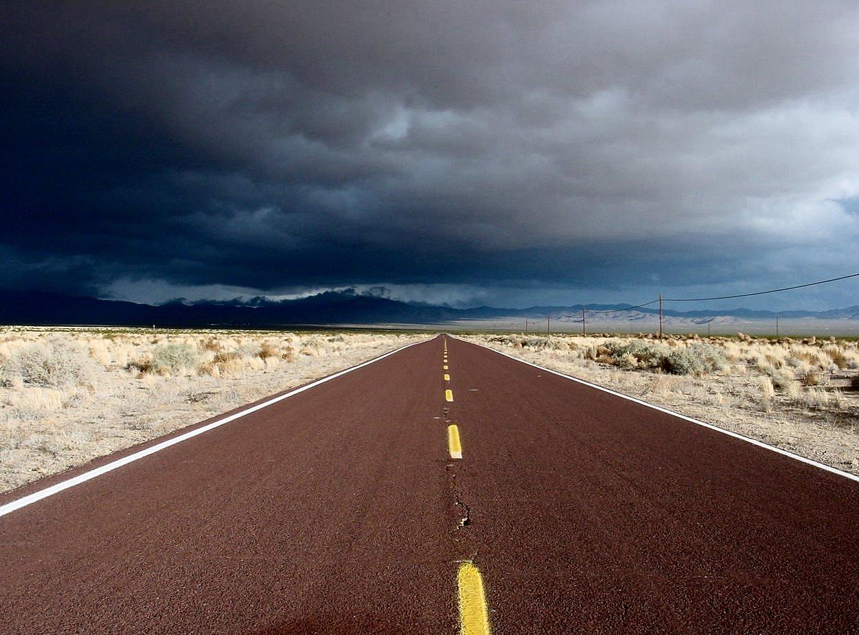CA desert red road