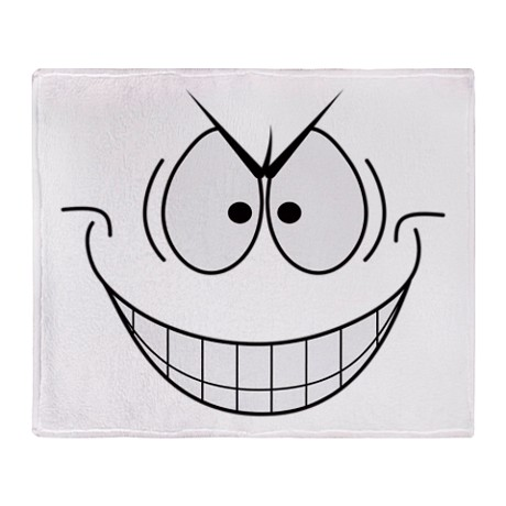 evil_plotting_genius_grin_smiley_face_throw_blanke