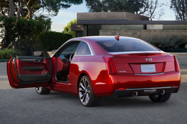 2015-Cadillac-ATS-Coupe-red-rear-side-view-open-door