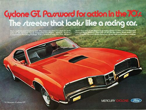 Mercury 1970 cyclone gt ad