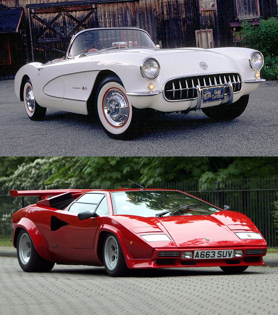 which is faster part 2 a 1957 corvette or a 1978 lamborghini countach lp400s. Black Bedroom Furniture Sets. Home Design Ideas