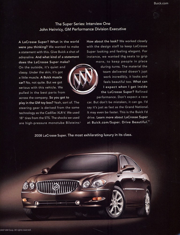 Future Curbside Classic: 2008-09 Buick LaCrosse Super – Do 300 Horses and 8 Cylinders Change ...