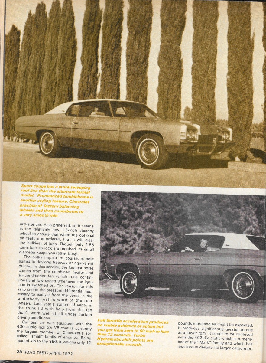 All Chevy 1972 chevy 402 engine specs : Vintage Review: 1972 Chevrolet Impala Custom 400 – Elvis Wasn't ...