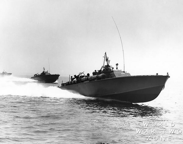 80 foot Elco PT Boats at speed. These are early models without radar and with the terrible MKVIII torpedos.
