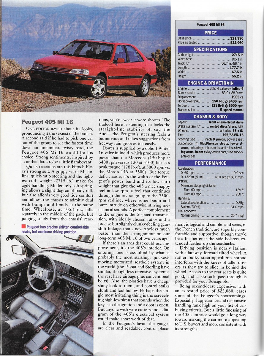 Vintage Comparison Test 1991 European Sedans Under