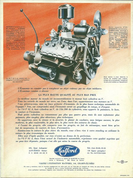 Praising the small V8 in the 1939 Matford brochure.